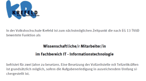 Stellenausschreibung VHS: Wissenschaftliche/r Mitarbeiter/in im Fachbereich IT-Informationstechnologie