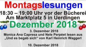Montagslesungen und weitere Veranstaltungen im Dezember